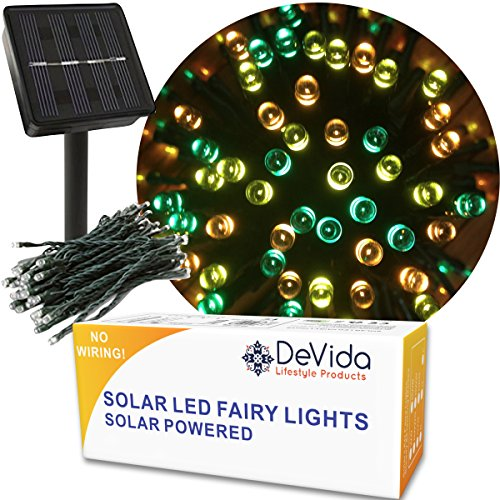 DeVida Fall Halloween Decorations Lights, Solar Powered Outdoor 100 Mini LED String Set, Outdoor Waterproof Thanksgiving Harvest Decor for Tree, Patio, Wedding in Multi Colors (Green Orange Yellow) (Fall Outdoor Decorating)