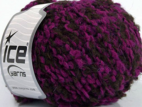 Plum Tree Boucle Yarn - Purple Brown Bulky Acrylic Wool Nylon Yarn 50 Gram