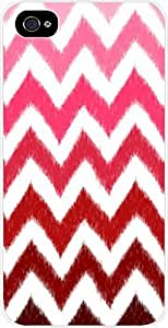 Red Ombre Ikat Chevron- Case for the Apple Iphone 4-4s Universal- Hard White Plastic