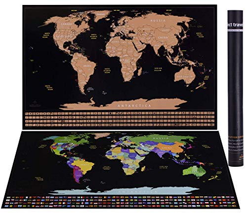 - Scratch Off World Map Poster with US States Outlined and Country Flags, 34x21'' Matching Different Wall Decoration Style, Fashionable Glossy Finish, Black with Splendid Gold