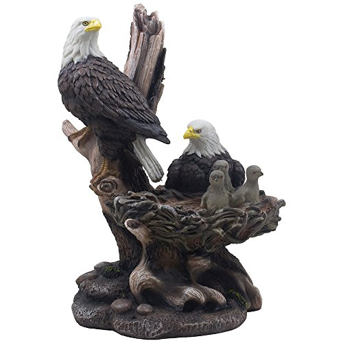 Patriotic American Bald Eagle Family Statue in Rustic Home Decor Sculptures & Figurines and Wildlife Bird ()
