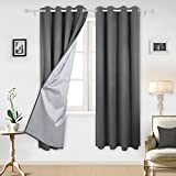dark grey curtains Deconovo Blackout Curtains Pair with Backside Silver Window Curtains for French Doors 52 By 84 Inch Dark Grey 2 Panels