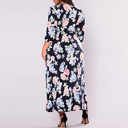 Femmes Robe V Robe Femmes col Bretelles Ete Boho Feixiang Grande Robe Boheme Robe d't Femme Bleu Taille Longue wC4qxpI