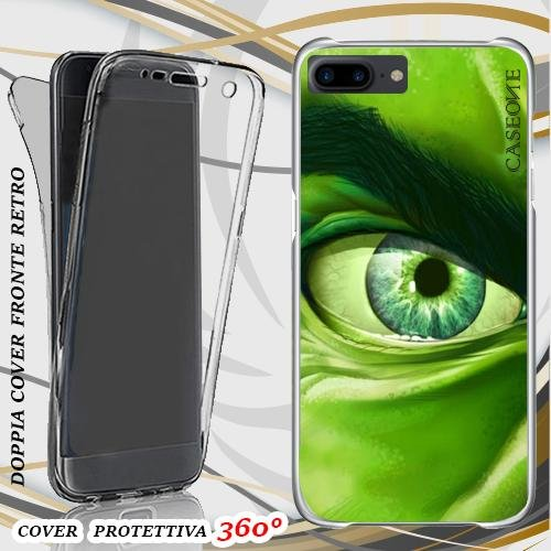 CUSTODIA COVER CASE OCCHIO HULK PER IPHONE 7 PLUS FRONT BACK