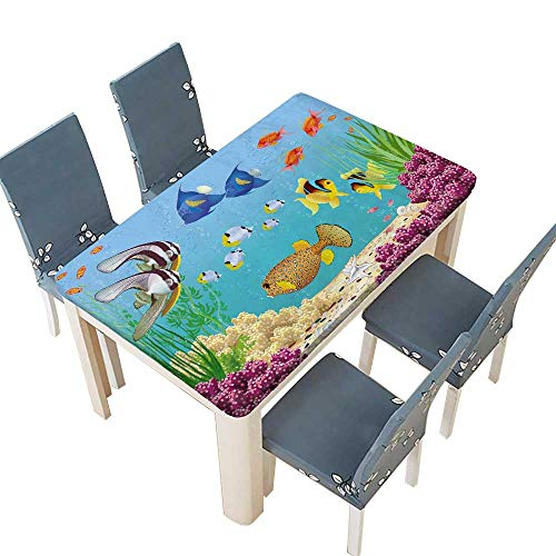 PINAFORE Tablecloth Underwater Landscape with Various Water Plants and Swimming Tropical Fish Table Top Cover W25.5 x L65 INCH (Elastic Edge)