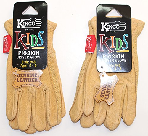 Kinco 94C (2-Pack) - Leather Work Gloves for Kids - Very Soft and Durable Pigskin Leather - Lightweight Hand Protection for those Little Hands - No Break in Needed. Ages 3-6 Yrs (See Dimensions Below) -