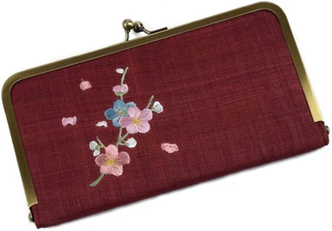 AIYAMAYA Womens Fabric Embroidery Plum Money Bag
