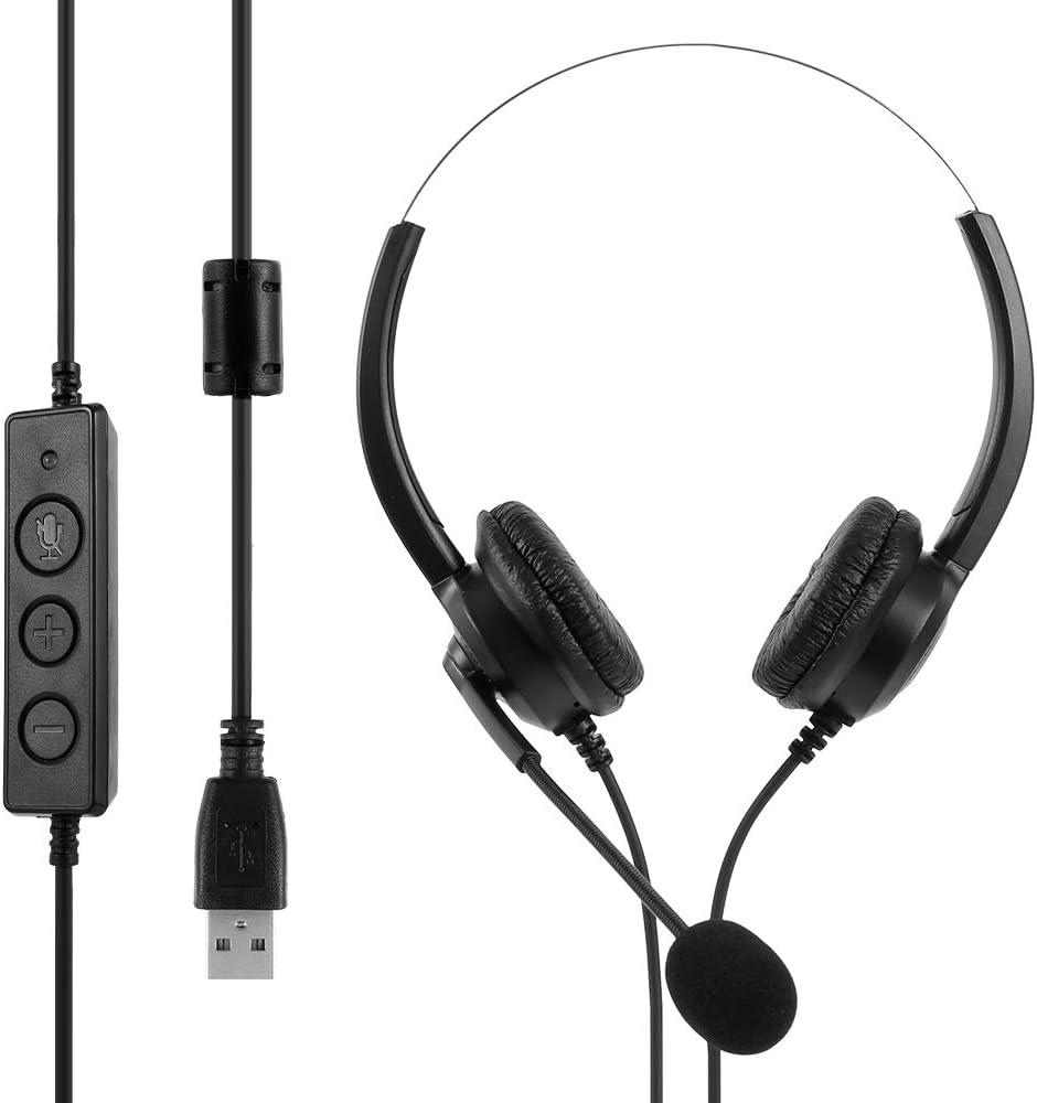 ATopoler Cuffie USB Cablate con Microfono Cancellazione del Rumore e Controlli Audio Cuffie USB Cablate per PC Super Leggere e Confortevoli per Chiamate di Lavoro Call Center Skype Chat Conference