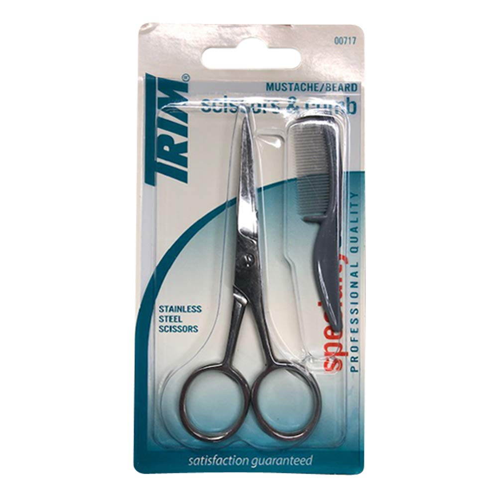 Trim Specialtycare Mustache/Beard 00717 Scissors And Comb, 1 St (Pack of 6)