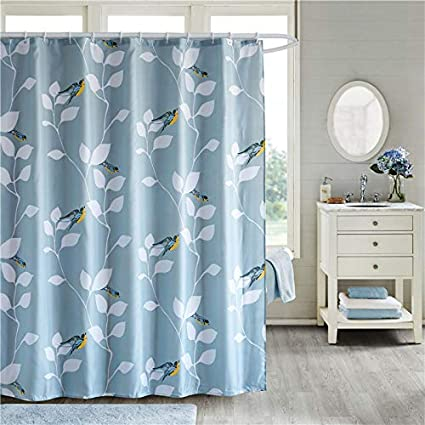 Uphome Fabric Shower Curtain Spring Natural Birds And Tree Branch Bathroom Cloth Set