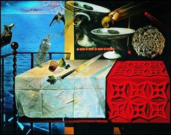 """Panel Salvador Dali """"Natura morta Vivente Cuadro, impresión sobre madera,"""