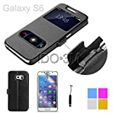 S6 Case,galaxy S6 Case - Double View Window Folio Leather Smart Case Stand Cover + Free Screen Protector + Stylus for Samsung Galaxy S6 G9200 G920F G920T (black)