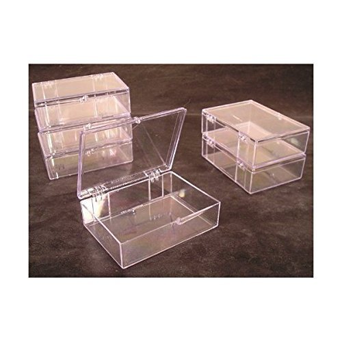(Lot of 6 Crystal Clear Hinged Plastic Trading Card Storage Boxes (55-ct) - Made in the)
