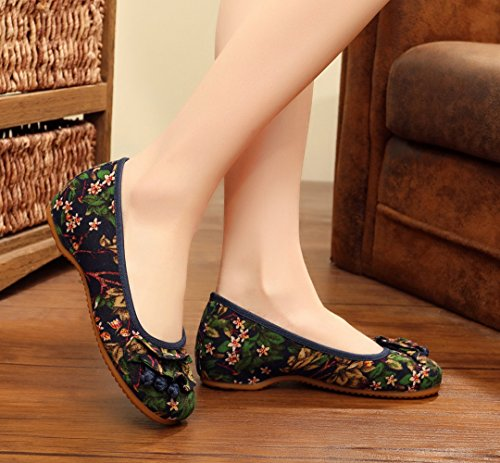 Avacostume Impresión Floral Ronda Puntadas Ruffles Mujeres Loafer Zapatos Azul