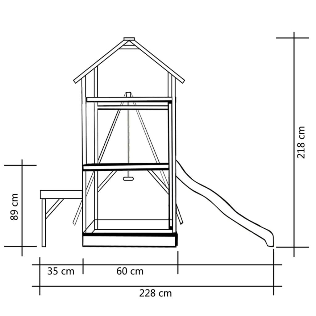 238x228x218 cm Festnight Festnight Festnight Playhouse with Slide Ladders Swing 286x237x218 cm FSC Wood 23686d