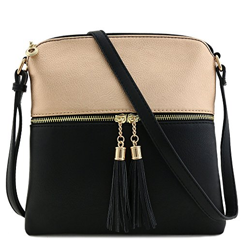 Tassel Zip Pocket Crossbody Bag (Rose Gold/Black)