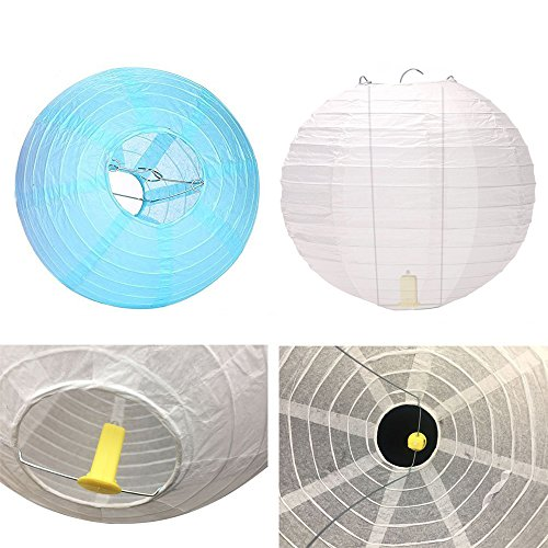 Neo LOONS White Round Chinese/Japanese Paper Lanterns Metal Framed Hanging Lanterns-- Assorted Sizes--Birthday/Wedding/Christmas/Ceiling Party Supplies Favors Hanging Decoration by NEO LOONS (Image #3)