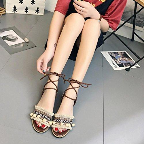 Tefamore Summer Ladies Women Sandals Flower Cross Strap Flat Roman Sandals uQifnS80m