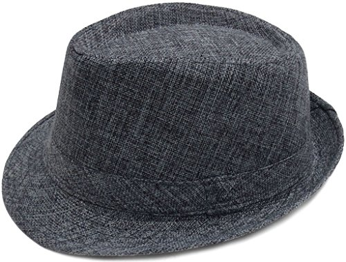 [Eqoba Women/Men Cotton Blend Solid Color Fedora Trilby Hat Cap w/ Brim, Grey] (Gangster Hats For Sale)