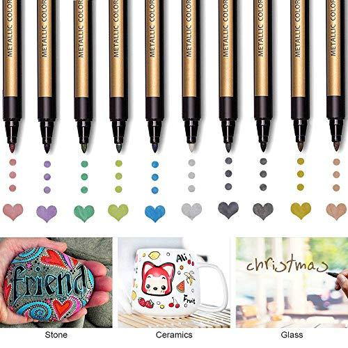 - Metallic Paint Pens for Rocks Painting, Scrapbook Photo Album, Ceramic, Glass, Wood, Fabric, Mugs, DIY Craft Making Supplies. Water-Based Metallic Paint Marker Pens Permanent. 10 Colors/Set