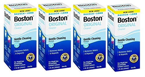 Bausch and Lomb Boston Original Cleaner for Hard Rigid Gas Permeable Contact Lenses, Travel Size 1 oz - Pack of 4