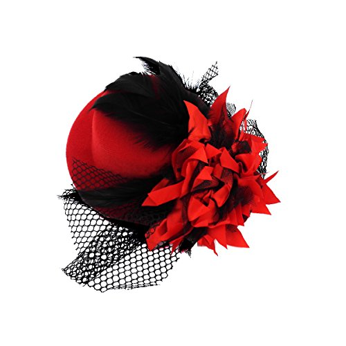Kalevel Flower Hair Clip Feather Punk Mini Top Hat with Clips and Veil for Girls Women (Red) (Mini Hat With Veil)
