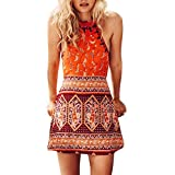 VECDUO Women's Boho Halter Sleeveless Printed Short Summer Beach Mini Dresses Orange