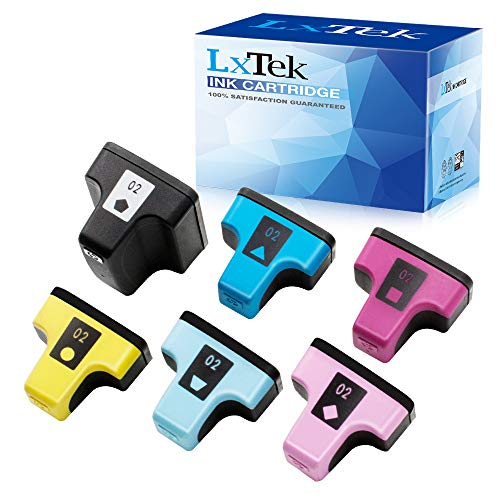 LxTek Remanufactured Ink Cartridge Replacement for HP 02 Q7964AN to use with PhotoSmart C7280 C6280 C5180 C6180 D7360 D7460 8250 C7200 (6 Pack, Black/Cyan/Magenta/Yellow/Light Cyan/Light Magenta)