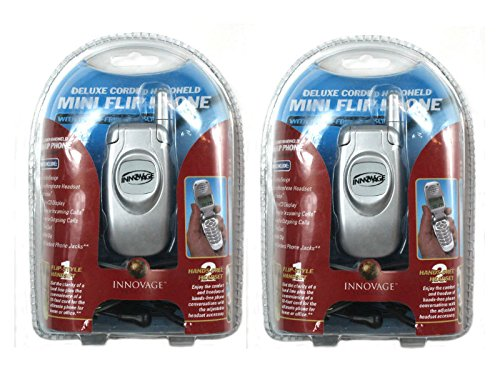 PACK OF 2 INNOVAGE  Mini Corded Home Flip Phones w/ Caller ID & Headset - Mini Corded Telephone