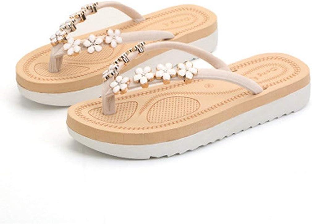Womens Flat Flip Flops Sandals with Metallic Platform Comfort Fashion Summer Beach Thong Black White