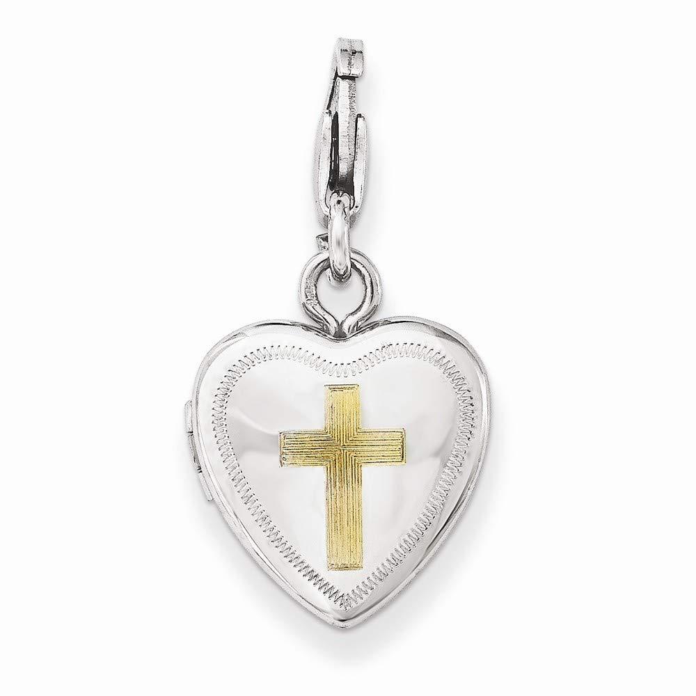 925 Sterling Silver Polished Patterned Holds 2 photos Lobster Claw Closure Gold-Flashed Cross Lobster Clasp 12mm Heart Locket