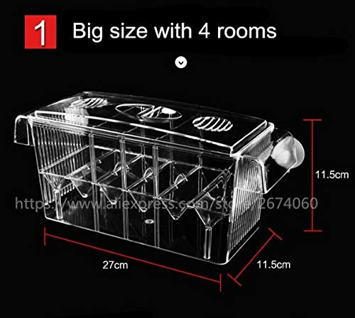 Big Size 4 Rooms Aquarium Acrylic Four Splits Betta Fish Tank With Basket Plant 4 Bow Fighting Isolation hatch breed box AT006   Rectangle one, one size