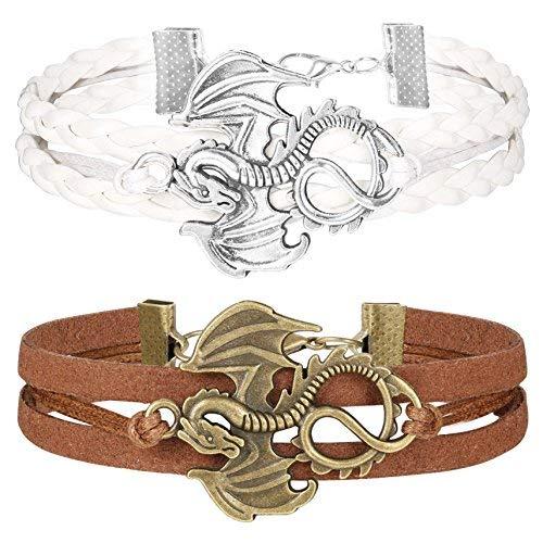 Finrezio Multilayer Leather Bracelets for Women Girls Dragon Bracelets Set Adjustable Friendship Jewelry Brown White 2 PCS