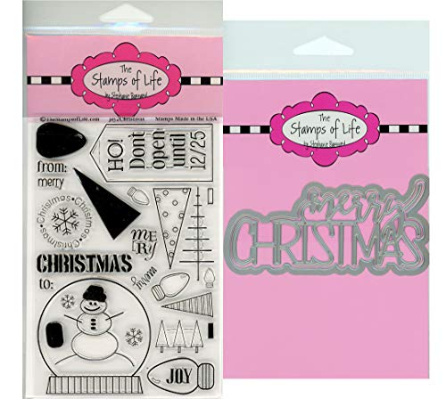 The Stamps of Life Fun Sentiments Christmas Stamps and Dies for Card Making and Scrapbooking by Stephanie Barnard - Joy2Christmas and Trendy Merry Christmas Die-Cuts ()