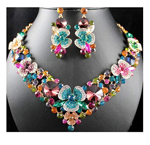 (Janefashions Clover Multi-Color Austrian Rhinestone Crystal Necklace Earrings Set Prom N12190)