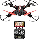 DoDoeleph Syma X56W RC Drone Foldable Quadcopter With HD Wifi Camera and Live Video 4 Channel Headless Mode Altitude Hold One Key Take off Landing UAV Black