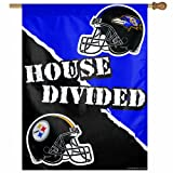 NFL Pittsburgh Steelers vs. Baltimore Ravens 27/37-Inch Vertical Flag, House Divided