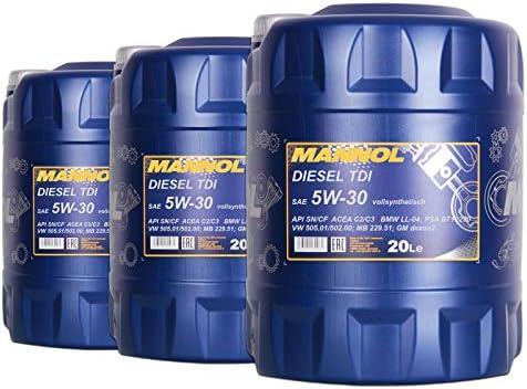 3x Mannol Mn7909 20 Diesel Tdi 5w 30 Motoröl Api Sn Cf 20l Auto