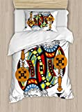 Ambesonne King Duvet Cover Set Twin Size, King of Clubs Playing Gambling Poker Card Game Leisure Theme without Frame Artwork, Decorative 2 Piece Bedding Set with 1 Pillow Sham, Multicolor