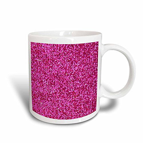 3dRose Hot Pink, Faux Glitter Photo of Glittery Texture, Sparkly Bling Effect, Ceramic Mug, 15-Oz Pink Coffee Photo