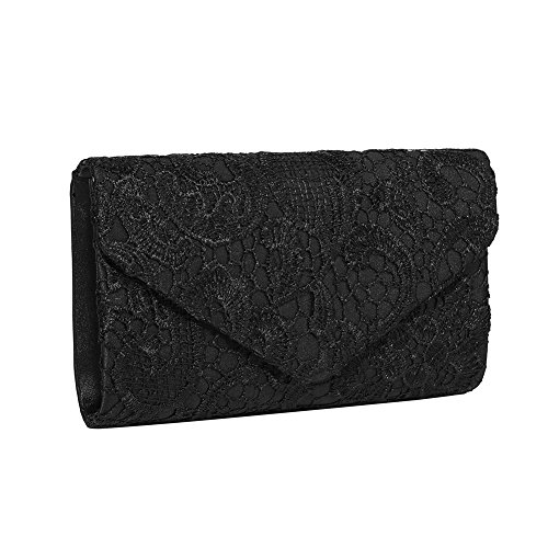 Glamorous Clutch Purse (Gyeitee Women's Elegant Floral Lace Envelope Clutch Evening Prom Handbag Purse Ladies Satin Lace Envelope Clutch Bag (Black))