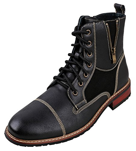 Ferro Aldo MFA-808561 Mens Lace up Military Combat Work Desert Ankle Boot w/ Leather Lining, Black, 9.5 D(M) US