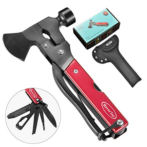 RoverTac Multitool Camping Tool Survival Gear, Handy Gifts for Dad&Men, UPGRADED 14 in 1 Stainless Steel Multi tool with Hammer, Axe, Knife, Plier, Screwdrivers, Saw, Bottle Opener, Durable Sheath
