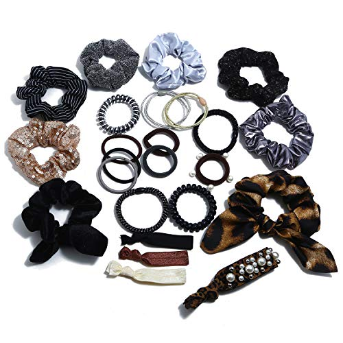 - NOVAS 24PAK Grab & Go Ponytail holders w/Faux Pearl & Sequins in Brown Grey Blk & Leopard Prints