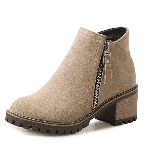 6cm Mujer De Botas Ancho Doble Cremallera Botines Para Zapatos Marrón Tacón Yorwor qC1pRC
