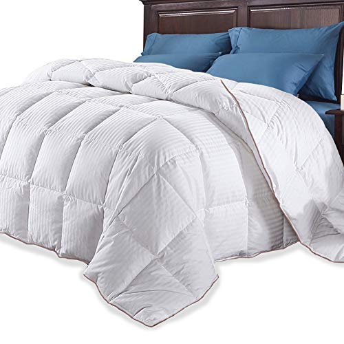 (Comforters All-Season White Down Quilted Comforter Duvet Insert Corner Duvet Tabs Hypoallergenic Machine Washable Stand-Alone Comforter 100% Egyptian Cotton Solid White Blanket (White-stripe, Queen))