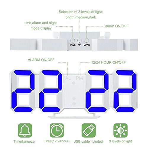 YIKESHU 3D Despertador Digital, LED Despertador Electrónico, Reloj Digital Moderno, Reloj de Pared, Visualización de hora 12h / 24h con Función de Alarma, ...
