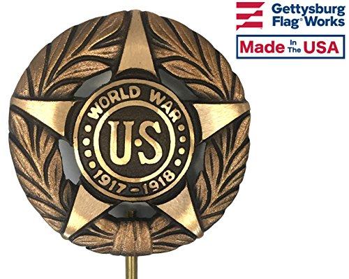 World War I Bronze Grave Marker, Cemetery Memorial Flag Holder, WWI Veteran Plaque, Made in USA ()