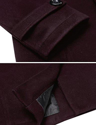 Invierno Botón Outerwear Hombres HOTOUCH Tops weinrot Fila Jacket Largo Doble S Abrigo Typ1 de Chaqueta XL q1qRTwp