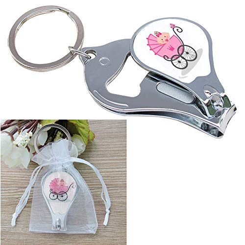 Baby Shower Pink Girl Keychain Favors (12 PCS) Nail Clipper and Bottle Opener Party Gift for Guest Recuerdos De Mi Baby Shower llavero -
